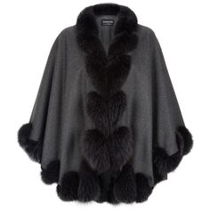 Harrods of London Fox Fur Spiral Trim Cape (111,985 INR) ❤ liked on Polyvore