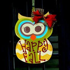 Fall Wreath Door Hanger Fall Autumn Owl Door by LooLeighsCharm