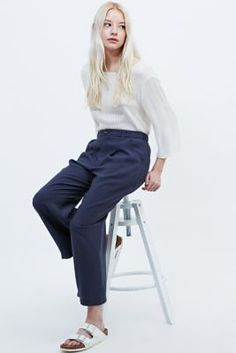 Cooperative by Urban Outfitters Wide Leg Trousers in Navy
