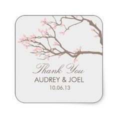 Pink Cherry Blossom Tree Branch Wedding Favor Stickers - By Origami Prints #square