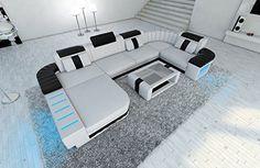 Mega Sofa BELLAGIO U-shape with LED Illumination white-black