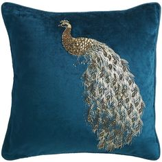 Pier 1 Imports Teal Midnight Velvet Beaded Peacock Pillow (8.458 KWD) ❤ liked on Polyvore featuring home, home decor, throw pillows, peacock, pillows, teal, peacock home accessories, peacock home decor, teal home decor and teal accent pillows
