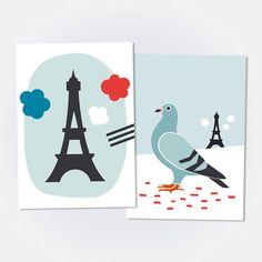 BONJOUR PARIS / Lot de 2 cartes postales par oelwein