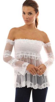 55433f7a7f8e4 See-through Off The Shoulder Top Sexy Blouse