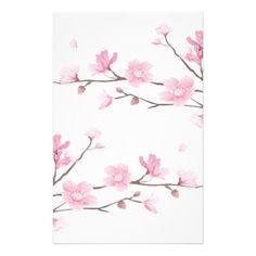 #flower - #Cherry Blossom - White Background Stationery