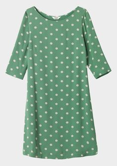 NEW TOAST VINTAGE MARIANNE JADE GREEN SPOTTED TUNIC DRESS RRP £115 SIZE 16