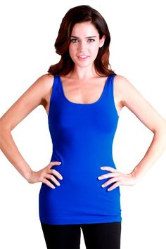 GaryM Women's Soft Stretch Solid Color Tank Top R Blue