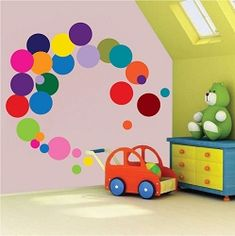 DCTOP Polka Dots Wall Decals) Easy to Peel&Stick Polka Dots Wall Decals Safe on Walls Paint Removable Primary Colors Vinyl Polka Dot Decor Round Wall Stickers for Nursery Room (Multicolor) Wall Mural Decals, Kids Room Wall Decals, Nursery Wall Stickers, Polka Dot Walls, Polka Dot Wall Decals, Polka Dots, Church Nursery Decor, Room Colors, Colorful Decor