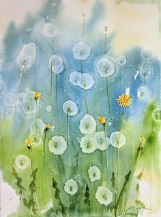 Today's Painting and Video: How To: Dandelion watercolor painting using Alcohol . - Today's Painting and Video: How To: Dandelion watercolor painting using Alcohol droplets - Watercolour Tutorials, Watercolor Techniques, Art Techniques, Watercolor Cards, Watercolor Flowers, Watercolor Paintings, Watercolours, How To Watercolor, Art Painting Flowers