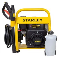 Stanley 2500PSI Petrol Pressure Washer, Lightweight Frame, 2 Year Warranty. The Stanley 4HP 2500PSI Petrol Pressure Washer is ideal in cleaning driveways, decks, brickworks, patios, roofs as well as cars and the filthiest of four-wheel drives. It includes a convenient 5m long heavy-duty hose and an adjustable nozzle. Its lightweight frame enables it to be easily transported and stored. Washer Pump, Pressure Washers, Stained Concrete, Driveways, Four Wheel Drive, Water Flow, Brickwork, Mold And Mildew, Decks