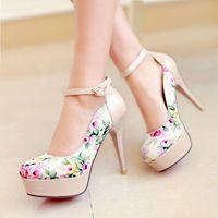 plus size eur 32-42 fashion flowers print party shoes woman 2014...
