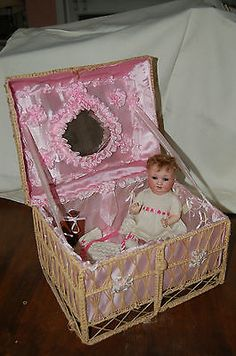 Antique Baby Doll and layette basket