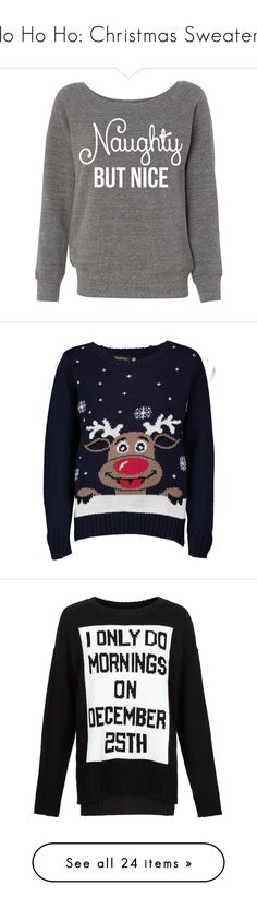 """Ho Ho Ho: Christmas Sweaters"" by polyvore-editorial ❤ liked on Polyvore featuring ChristmasSweaters, tops, sweaters, grey, women's clothing, grey sweater, sexy shirts, gray shirt, grey off the shoulder sweater and grey shirt"