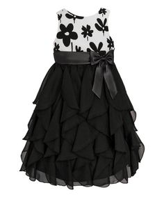 This Black & White Floral Ruffle Tier Dress - Toddler & Girls by American Princess is perfect! #zulilyfinds