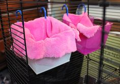 Easy diy rat beds!--I never thought to put the hooks through the bits of fabric.... /facepalm. So simple.