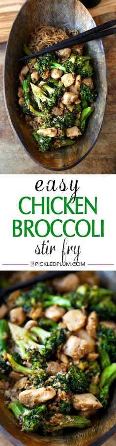 Easy Chicken Broccoli Stir Fry - We love this recipe for whenever life gets a little too busy for elaborate cooking. Ready in under 20 minutes. Easy and Tasty! | pickledplum.com