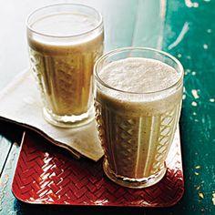 Peanut Butter, Banana, & Flax Seed Smoothie: 1/2 cup milk,  1/2 cup vanilla  yogurt,  2 TBSP ground golden flaxseed,  1 TBSP creamy peanut butter,  1 tsp honey,  1/4 tsp vanilla,  1 ripe banana.