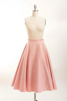 Vintage 1950s Skirt Pink and Grey Wool Felt 50s by stutterinmama