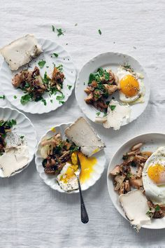 eggs, mushrooms, cheese... contrasting those bright yolks with the soft whites. food styling inspiration.