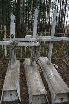 "Sel'kup Christian graves with ""communication holes"", normally the hole in the wooden ""dead humans house"" for contacts with other world is closed by special wooden stopper (cork), it can be opened when communication is needed and then closed again. Serbian grave."