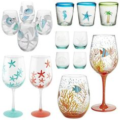 Coastal and Beach Theme Drinking Glasses: http://www.completely-coastal.com/2016/05/coastal-nautical-drinking-glasses.html Wine Glasses and Stemless Glasses with a Splash of Color, Featuring Sea Life, Starfish, Shells and Hues of the Sea.