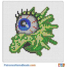 Monstruo plantilla hama bead. Descarga una amplia gama de patrones en formato PDF en www.patroneshamabeads.com