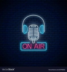 Neon on air sign with retro microphone and vector image on VectorStock On Air Sign, Air Signs, Acid Wallpaper, On Air Radio, Cafe Icon, Neon Signs Quotes, Neon Room, Brick Wall Background, Aesthetic Wallpapers