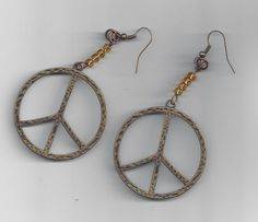 Peace earrings with amber seed beads by by RoseFireDesigns on Etsy
