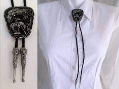 Vintage Bolo Tie, Pewter End of the Trail, Bola w Black Cord, Southwestern Necktie, Boho Country Western Wear, Cowboy Cowgirl, ID 517666220 by LaBelleBead on Etsy
