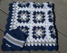 Baby Boy Granny Square Blanket Crochet by DonnasPinsandNeedles