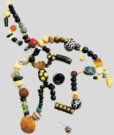 beads  IX-X centuries. Glass, amber and carnelian. Found on Earthen mound, Staraya Ladoga