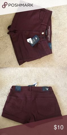 burgundy american eagle shorts brand new with tags! burgundy high rise shorts! Shorts