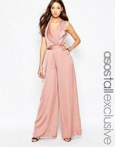 6753e1e2d006 ASOS TALL Wrap Front Wide Leg Jumpsuit – Black Pink Jumpsuit