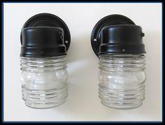 Vintage 50s Mid Century Modern Set 2 Outdoor Porch Lantern Shape Glass Light Fixtures Sconces
