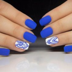 Electric blue and white ❤ handpainted henna style nail art ? Electric blue and white ❤ handpainted henna style nail art ? Light Blue Nail Designs, White Nail Designs, Beautiful Nail Designs, Nail Art Designs, Blue And White Nails, Light Blue Nails, White Nail Art, Cobalt Blue Nails, Fun Nails