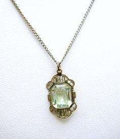 Dainty Vintage Art Deco Necklace Pale Green by SweetThingsJewels, $89.50