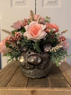 Calling all pig lovers! Check out this floral arrangement! Artificial Floral Arrangements, Centerpieces, Table Decorations, Peach Flowers, All Pictures, End Tables, Greenery, Berries, Container