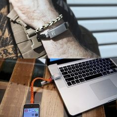 Stylish and functional, the Cabelet Charging Bracelet by Kyte&Key; features a genuine braided leather band and a stainless bronze metal clasp. It's both a fashionable leather bracelet and a battery life-restoring charging cable. Travel Gadgets, Cool Gadgets, Ipad, 21 Things, Iphone Charger, Travel Organization, Travel Themes, Braided Leather, Travel Accessories