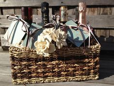 Cute Wedding Gift or Basket for Married friends- Wine basket with a wine for different occasions. This website has a poem for each occasion (first anniversary, first fight, first dinner party, etc.)