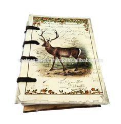 digital Christmas single deer vintage print notebook diary journal sketch book writing pad travelers diary journal