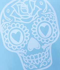 Sugar Skull decal - car decal, bumper sticker, window cling, laptop, computer, yeti decal, day of the dead, dia de muertos, All Souls' Day, by DizzyBellDesigns on Etsy