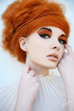 Orange hair model white woman red head afro natural kinky hair puff ... idk