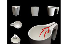 Tea Cup SlingsHOT, a tea cup designed by Samir Sufi. It has a groove built into the handle to keep the tea bag from falling into the cup. Coffee Set, Coffee Cups, Tapas, Cocoa, Yanko Design, Design Web, Slingshot, Tea Mugs, Ceramic Art