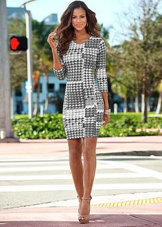 Houndstooth sheath dress with peep toe heel from VENUS. Dress sizes XS-XL and shoe sizes 5.5-10!