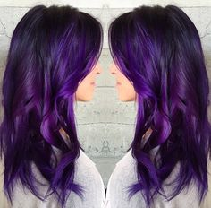 15 Must Have Dark Purple Hair Colour Ideas published in TopTeny magazine Lifestyle - %%excerpt%% Looking for fresh rocking colour ideas? You should give some thought to these exciting dark purple hair shade ideas. Ombré Hair, Hair Dos, Dark Purple Hair Color, Long Purple Hair, Pink Purple, Curly Girls, Hair Brained, Pretty Hairstyles, Purple Hair