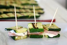 grilled zucchini finger sandwiches *zucchini, veggie meat and cream cheese?