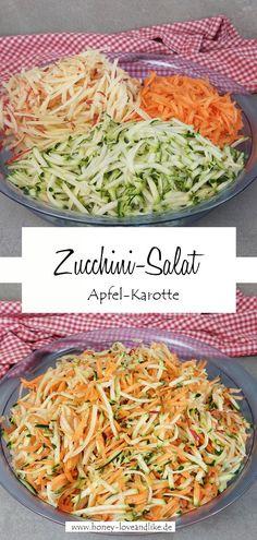 Zucchini-Salat mit Karotte und Apfel #ZucchiniSalat #Zucchini #Salat Zuccini Salad, Easy Peasy, Cabbage, Good Food, Favorite Recipes, Vegetables, Healthy, Kitchen, Savory Foods