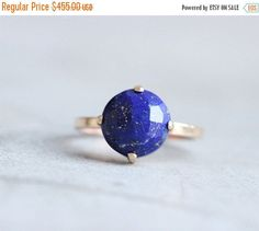 Gold lapis ring  18k gold ring  Lapis Lazuli Ring  by Studio1980