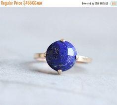 Gold lapis ring  18k gold ring  Lapis Lazuli Ring  by Studio1980