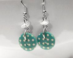 Dangle Button Earrings - Teal Polka on Etsy, $9.00